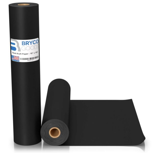 Black Kraft Arts and Crafts Paper Roll - 18 inches by 100 Feet (1200 Inch) - ...