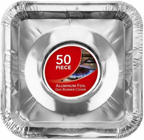 Stock Your Home Disposable Aluminum Square Stove Burner Covers 50 Pack