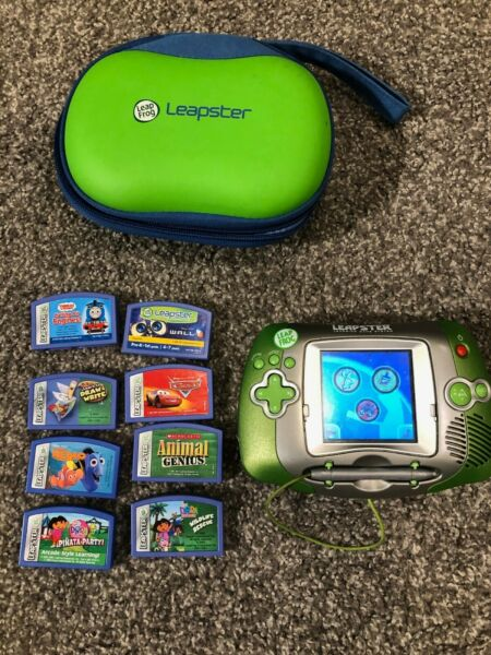 Leap Frog Leapster Handheld Learning Game System + 8 Games & Case  $11.30