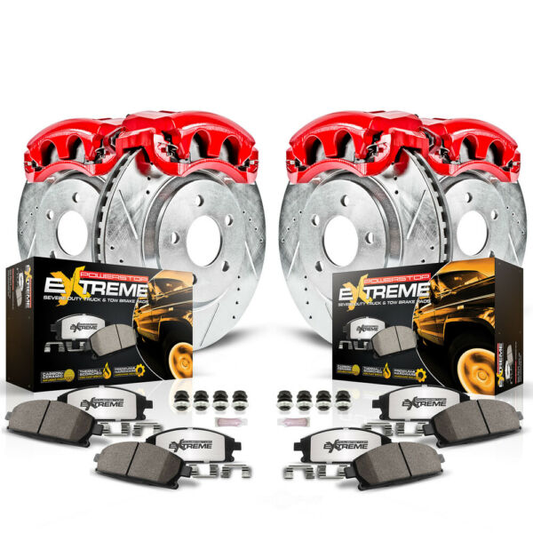Disc Brake Pad Caliper and Rotor Kit Front Rear fits 18-19 Jeep Wrangler