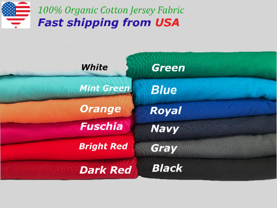 100% Organic Cotton by the yard Soft and Breathable Jersey Knit fabric from USA