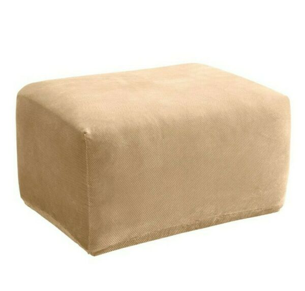 Surefit Stretch Pique Oversized Ottoman Slipcover beige Furniture $19.99
