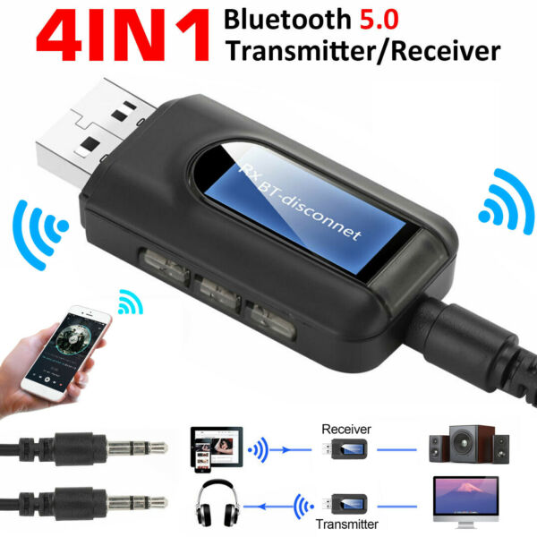 Bluetooth 5.0 Transmitter Receiver 4 IN 1 Wireless Audio 3.5mm USB Aux Adapter $10.48