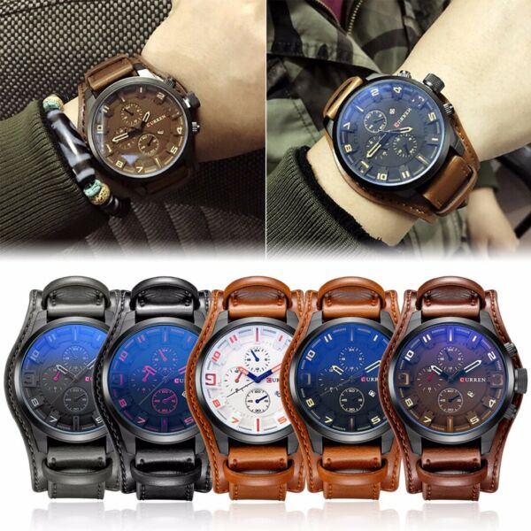 CURREN Sports Men#x27;s Leather Quartz Date Military Waterproof Wrist Watch Luxury