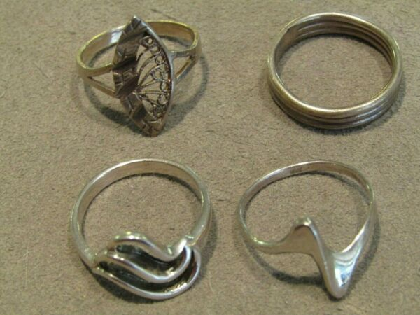 Lot of 4 Vintage Sterling Silver Band Rings Sz 8