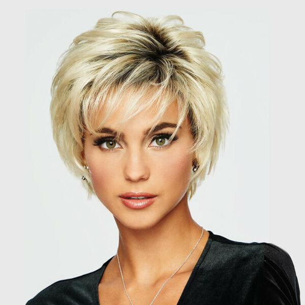 Short Synthentic Hair Wig Full Blond Pixie Cut Brazilian Hair Natural for Women $17.22