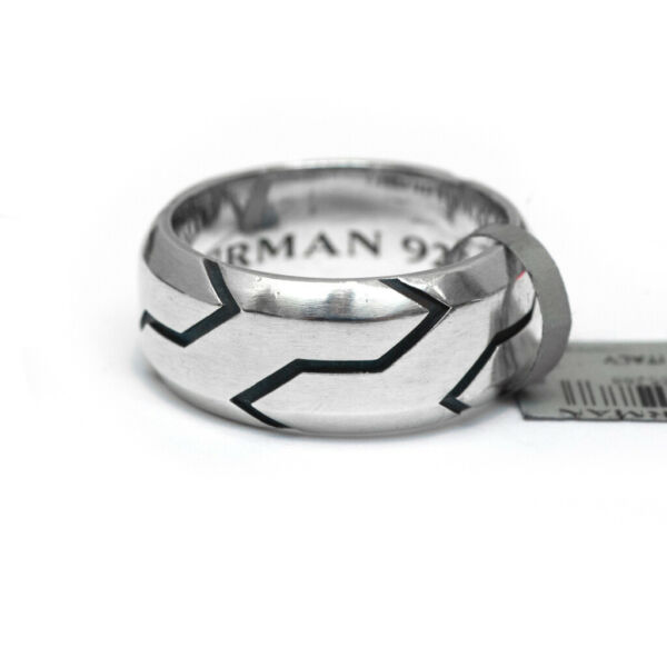 New DAVID YURMAN Men#x27;s 10mm Forged Carbon Band Ring in Silver Size 10 $395.00