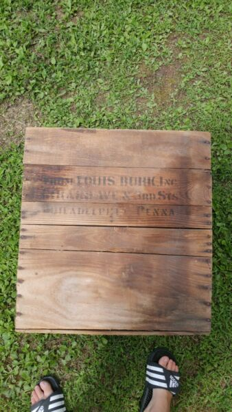 Vintage Wood Box Crate Louis Burk meat packer Philadelphia PA 19x14x21in