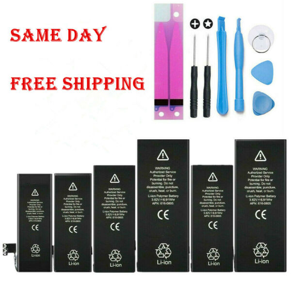 For iPhone 5 6 6S 7 8 X XS Plus Replacement Internal Battery w Adhesive Tool