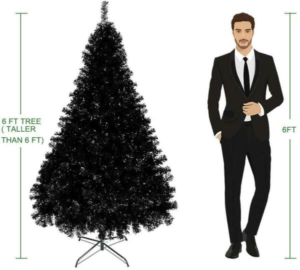 New 6Ft Artificial Christmas Tree Holiday Decor w 1600 Branch Tips Black Home