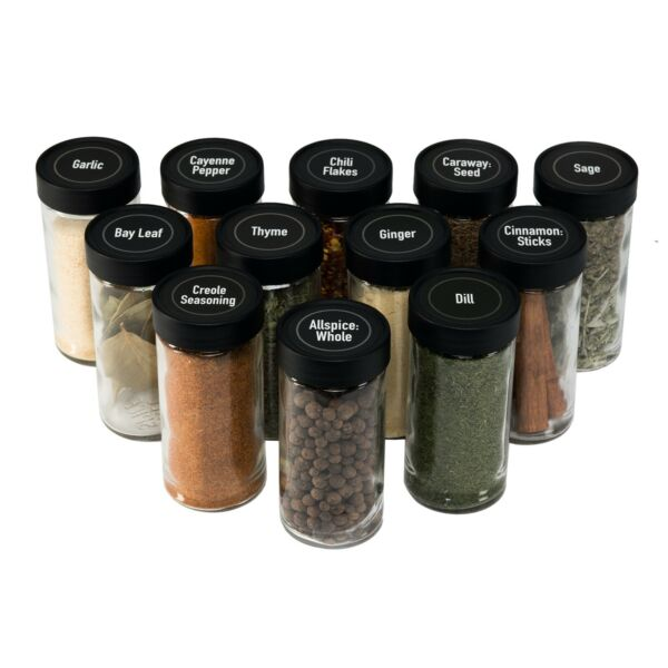 AllSpice 4 Fluid Ounce Glass Spice Jars with Lids and Shaker tops