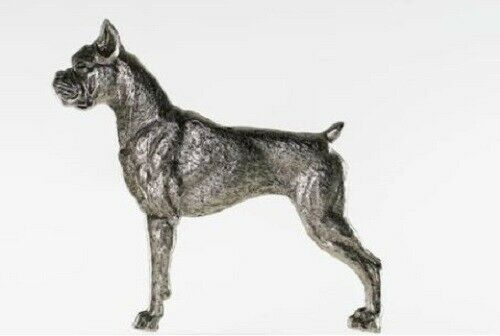 Grillie BOXER Ornament for Car Truck Grill Dog Antique Nickel