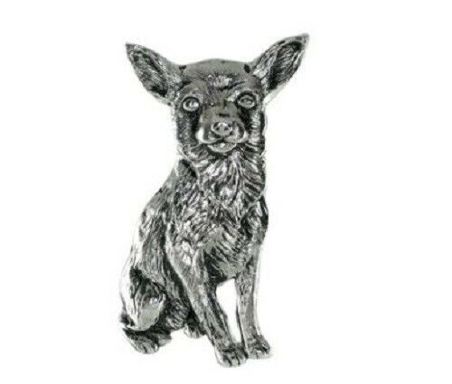 Grillie CHIHUAHUA Ornament for Car Truck Grill Dog Antique Nickel