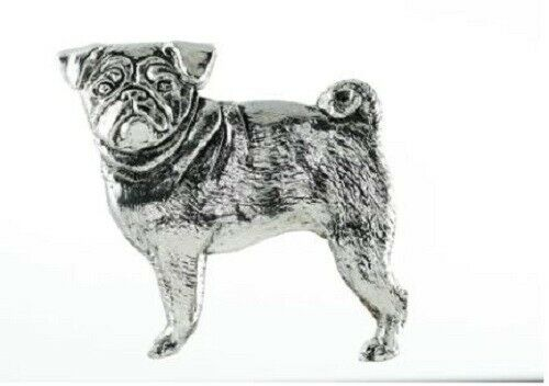 Grillie PUG Ornament for Car Truck Grill Dog Antique Nickel