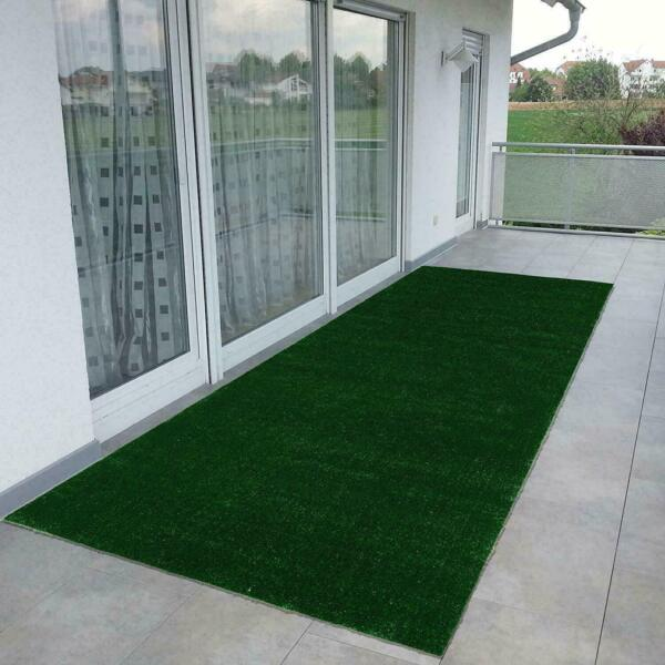 Green Turf Artificial Grass Solid Non Slip Indoor Outdoor Area Rug RV Patio Mat
