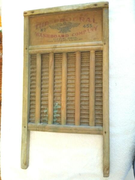 Old Federal Washboard Co 1920s No 455 wooden washboard good condition