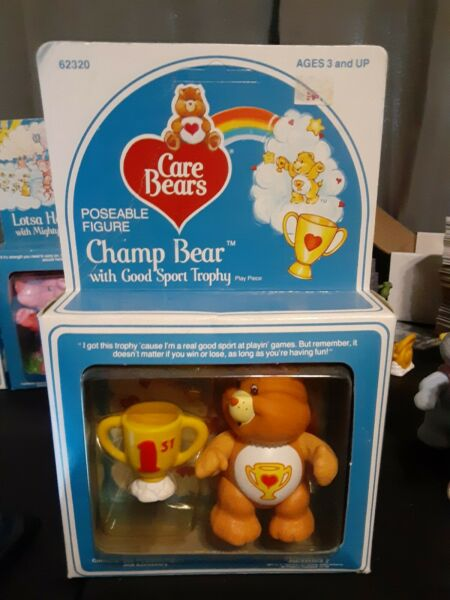 Vintage Care Bear Poseable Figure Tender Champ in package