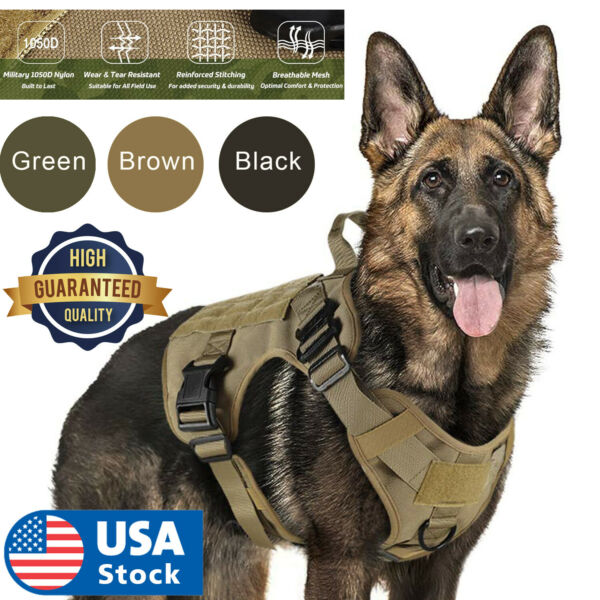 Tactical Dog Harness with Handle No pull Large Military Dog Vest US Working Dog $26.98