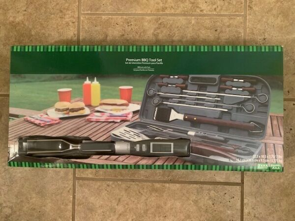 BBQ grill set with case and thermometer