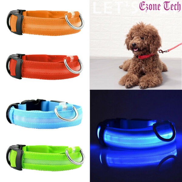 Safety Pet Dog LED Collar Night Flashing Light Up Adjustable Waterproof S XL $5.95