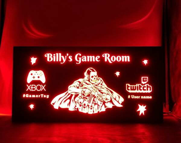 Custom Gamer Gaming led sign Pc Xbox Playstation ps4 Call of Duty cod