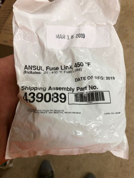 Ansul Fuse Link 450 K Green AN 439089 Pkg of 25 Dated 2019