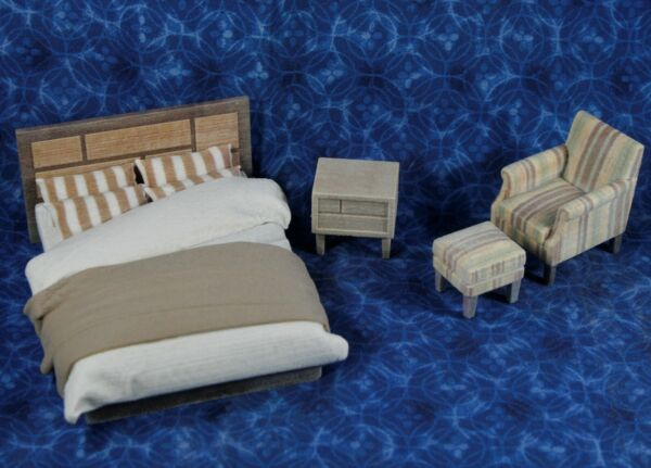 LOT Miniature Dollhouse Bedroom FURNITURE Resin 1:16 or 1:18 Bed Armchair etc. * $17.99