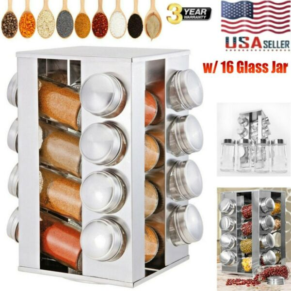 16 Glass Jar Revolving Carousel Spice Rack Stainless Kitchen Storage Organizer