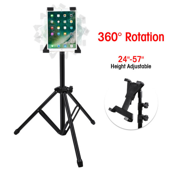 Height Adjustable Floor Tablet Tripod Stand With Rotating Holder for iPad 1 2 3