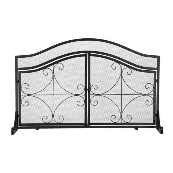 Fireplace Screen w Magnetic Door Solid Wrought Iron Frame with Metal Mesh Black