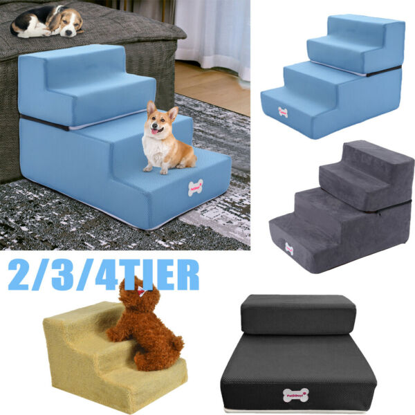 Easy 4 Steps Dog Stairs for High Bed Pet Cat Ramp Ladder with Removable Cover