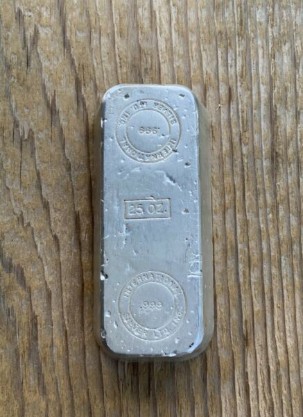 25 Oz International Silver Ltd. Inc. Silver Bar .999 Fine Silver