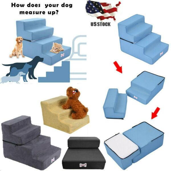 Easy 4 Steps Dog Stairs for High Bed Pet Cat Ramp Ladder with Removable Cover A