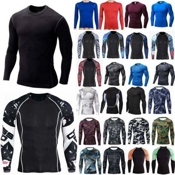 Men Long Sleeve T Shirt Baselayer Cool Dry Compression Gym Sports Stretch Top $13.10