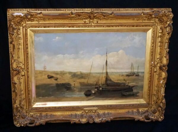 1883 English Oil Painting Seaside amp; Boats by John Wright Oakes 1820 1887 ZaG