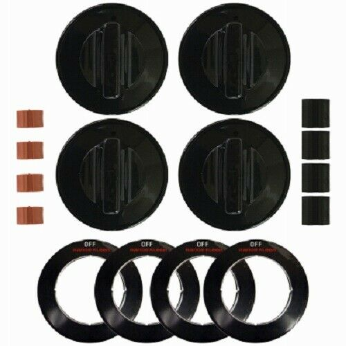 Range Kleen 4 Pack Black Gas Replacement Knob Kit for Ranges. Universal