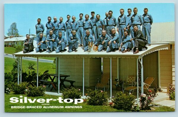 Postcard Advertising Silver Top Aluminum Awnings Hold 26 Men amp; A Dog c1960s D4