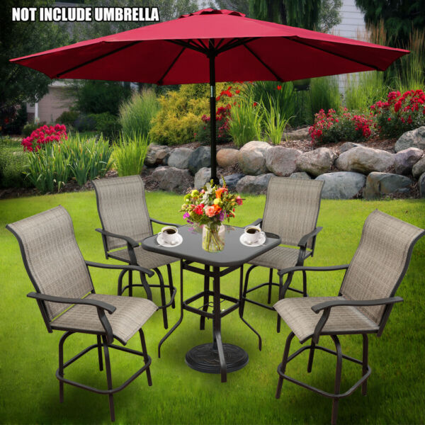 5 pcs Patio Swivel Chair Set High Top Outdoor Table and Chairs Patio Bar Stools $589.99