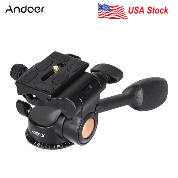 Andoer Video Camera Tripod Ball Head 3 way Fluid Head for Canon Sony Nikon DSLR