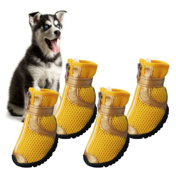 4pcs Pet Dog Shoes Small Large Anti slip Mesh Boots Summer Breathable Booties US $8.99