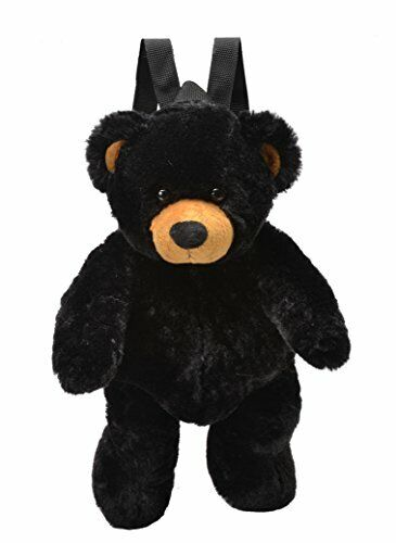 Soft Plush Black Bear Backpack with Adjustable Straps Zippered Pocket