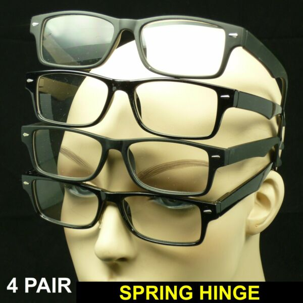Reading glasses black 4 pair spring hinge pack power lens new men women