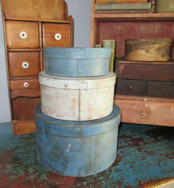 Stack of 3 Antique Pantry Box Paint Shaker Firkin Blues Paint Primitive