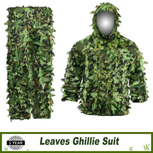 5 in 1 Ghillie Suit 3D Camouflage Woodland Forest Hunting Jacket amp; Pants Set M L