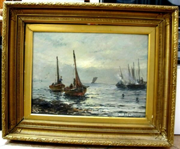 JOHN CHALMERS ca1880 Listed British Impressionist Maritime Oil With Boats