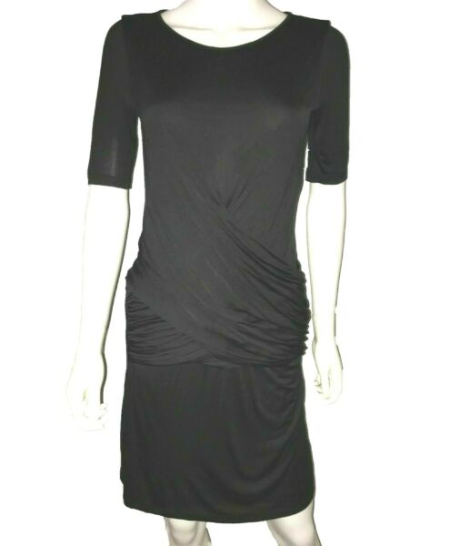 Burberry Dress. Black. Size Small. Short Sleeves. Ruching. Round Neck $89.00