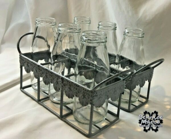 2 Gray Metal Carriers Decorative Trim with 3 Small quot;Wavyquot; Bottles in each $19.75