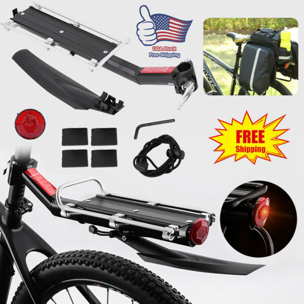 Rear Bicycle Rack Cargo Rack Quick Release Alloy Carrier with Fender $23.88