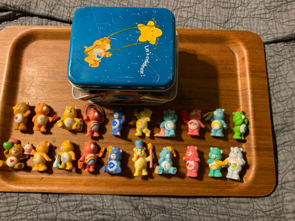 vintage care bears Miniatures Lot Of 20 With Tin Case