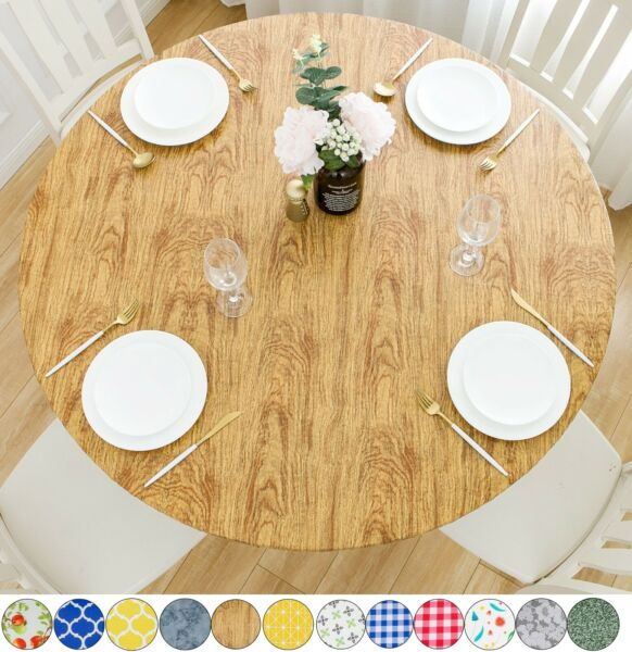 Vinyl Tablecloth Round Fitted Elastic Flannel White Oak Wood Grain Table Cover